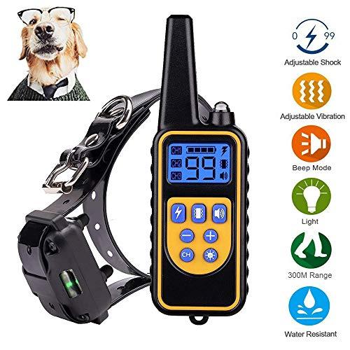 Jjobs collare addestramento per cane, 800 metri con 4 modelli, impermeabile e ricaricabile per 1 cani