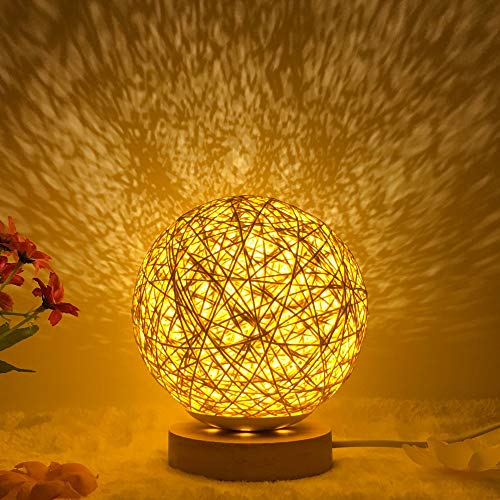 tor projektor lampe,Nachtlicht-Geburtstagsgeschenk des romantischen Sternprojektors des Betts vibrierendes INS, das Schnurball-Rattanball-Tischlampe, Gold verdunkelt ()