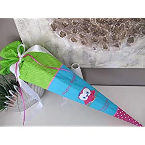 #146 Eule Uhu rot-grün Schultüte Stoff + Papprohling + als Kissen verwendbar
