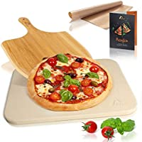 Amazy Piedra para pizza (38 x 30 x 1,5 cm) + Pala de Bambú + Papel Horno Reutilizable + Instrucciones - Dele a su pizza el original sabor italiano al horno de leña.