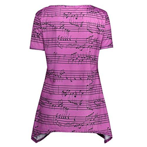 Viahwyt donne o collo manica corta nota musicale stampato felpa pullover orlo asimmetrico camicetta Purple