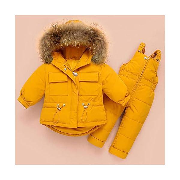 ZYY Snowsuits Niños Bebé Niño Invierno Traje De Nieve Chaqueta Acolchada Abrigo con Capucha Abajo Pantalones para La… 4