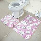 OOFAYWFD Thick Coral Fleece Badezimmer Zweiteilige Badezimmer Anti-Rutsch-Matte WC Zweiteilige Teppich Matte,4