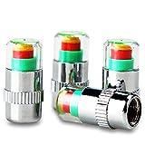 Lote de 4 válvulas de vástago de indicador de presión en neumáticos, sensor con 3 modos