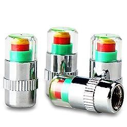 4x coprivalvole per pneumatici, sensori di monitoraggio della pressione con indicatore di allerta a 3colori