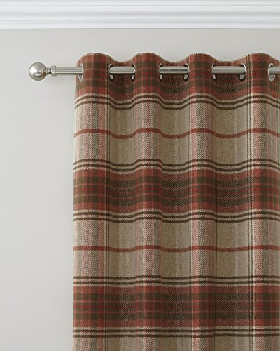 Catherine Lansfield Brushed Heritage Check Eyelet Curtains Burnt Orange, 90×90 Inch