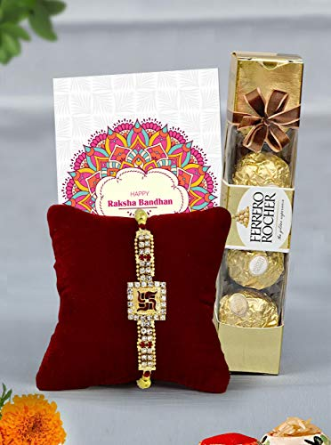 TIED RIBBONS Designer Rakhi with Gift for Brother with Ferrero Rocher Chocolate Box(4 pcs) Roli Chawal, Rakshabandhan Special Card