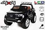 RIRICAR Ford Ranger Wildtrak 4X4 LCD Luxury, Elektro Kinderfahrzeug, LCD-Bildschirm, schwarz - 2.4Ghz, 2 x 12V, 4 X Motor, Fernbedienung, 2-Sitze in Leder, Soft Eva Räder, Bluetooth