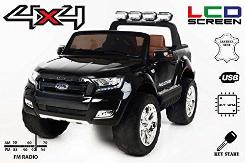 Ford Ranger Wildtrak 4X4 LCD Luxury, Coche eléctrico para niños, 2.4Ghz, Pantalla LCD, Negro, 2x12V, 4 X MOTOR, mando a...