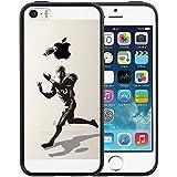 Coque iPhone SE, TrendyBox Transparent PC Hard Cover avec soft Noir TPU Pare-chocs pour iPhone 5 5S SE (Football de rugby)...