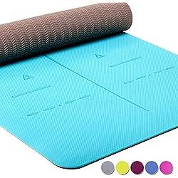 Heathyoga ® Estera de Yoga, Sistema de alineación único, de Peso Ligero, Antideslizante, protección del Medio Ambiente, Tamaño: 183cm x 65cm. Espesor: 6 mm. (Teal)