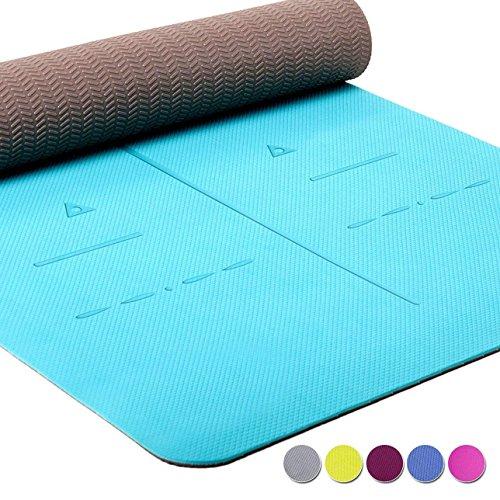 Heathyoga Yogamatte Pro, Ausrichtungs-System, Umweltfreundliche und hypo-allergene TPE-Matte, weich und rutschfest, ideal für alle Yoga-Lehrer und Yogis, In vielen Farben erhältlich. 183 x 65 x 0,6 cm