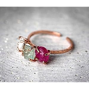 925 Silber/18k rosè vergoldeter Ring Aquamarin+Rubin+Bergkristall