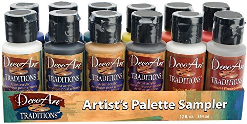 Deco Art DATSK01 DecoArt Traditions Acrylic Paints 1oz 12/Pkg-Artists Palette Sampler by DecoArt