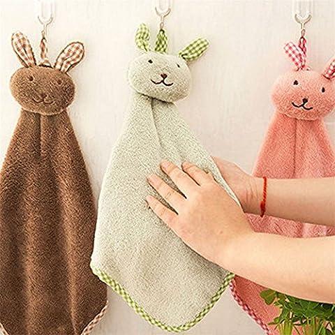 Qearly Cartoon Coral Fleece Children's Towel Small Hand Towel Set of 3