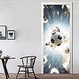 Haipeiy Türaufkleber 3D türaufkleber wohnkultur fußball deursticker Sport Aufkleber Porte Selbstklebende Entfernbare Tapetenaufkleber auf den türen 5