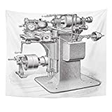 TRUIOKO Tapisserie Tapestry Wall Hanging Workshop Old Milling Machine Vintage from Meyers Konversations Lexikon 1897 Polyester Fabric Home Decor for Living Room Bedroom Dorm 50x60 Inches