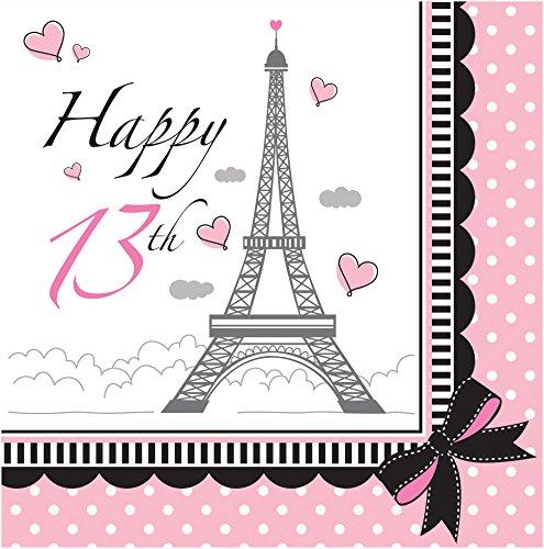 Creative Converting 18Zählen 13. Party in Paris Lunch-Servietten, pink/schwarz (Paris Party Tower Eiffel Supplies)