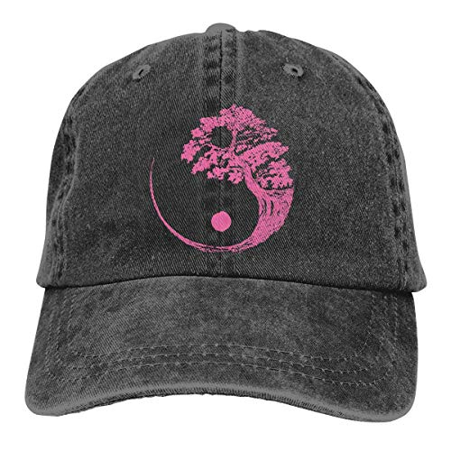 Hoswee Unisex Kappe/Baseballkappe, Yin Yang Bonsai Tree Men/Women Washed Adjustable Baseball Cap Jeans Back Closure Trucker Hat - Back Adjustable Trucker Hut