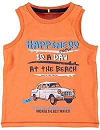 NAME IT Joven Top/Camiseta axilas en color naranja con texto impreso, talla 98