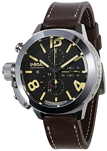 U-Boat Classico Automatic Watch, Stainless Steel, Black, 50mm, Chronograph, 8077