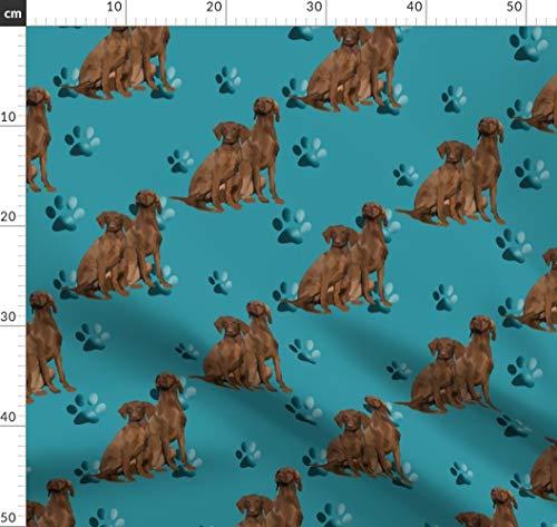 Blau, Hund, Pfoten Stoffe - Individuell Bedruckt von Spoonflower - Design von Dogdaze Gedruckt auf Bio Baumwollsatin -