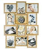 levandeo Bilderrahmen Collage B x H: 51x68cm 12 Fotos 13x18 Eiche MDF Holz fertig montiert Glas