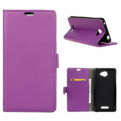 MOONCASE Alcatel POP 4S Hülle, Leder Tasche Klappetui Bookstyle [Card Slot] Schutzhülle Case mit Standfunktion für Alcatel One Touch Pop 4S 5.5'' Lila