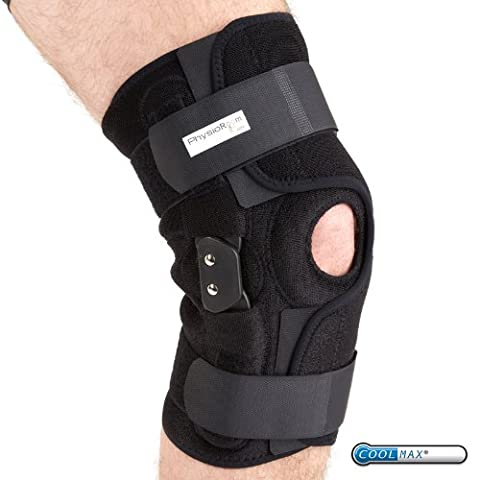 PhysioRoom Elite Hinged Knee Brace - ACL, Ligament, Knee Support, Adjustable Straps, Plastic Hinges, Enhance Stability, Protection, Coolmax Fabric, Comfortable and Easy Fit,