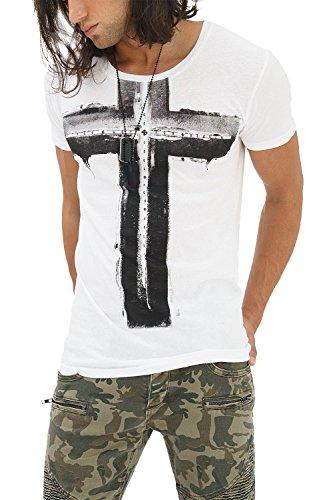 trueprodigy Casual Herren Marken T-Shirt mit Aufdruck, Oberteil cool und stylisch mit Rundhals Ausschnitt (Kurzarm & Slim Fit), Shirt für Männer in Bedruckt Farbe: Weiß 1082125-2000-XXL
