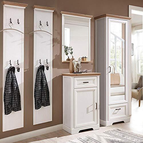 Lomadox Garderobenmöbel-Set im Landhausstil in Pinie weiß mit Artisan Eiche, Breite: 250cm
