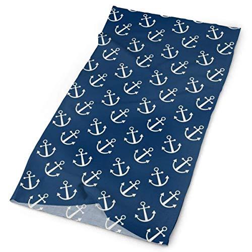 Wfispiy Navy Anchors Pattern Unisex Ordinary Variety Head Scarf Scarves Face Masks Headband Cap Headwear Bandanas Sport