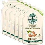 L'arbre vert Bien-être Recharge Crème Lavant Mains Amande Bio aux Bienfaits d'Aloé Vera Bio/Extraits d'Amande Douce Bio - Pack de 6