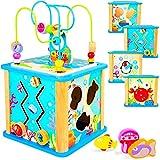 Rolimate Cube d'Activité Multifonctionnel Ensemble Centre de Jouet Coloré en Bois avec Jeu de Labyrinthe Cadeau pour Enfants Préscolaires Plus de 18 Mois