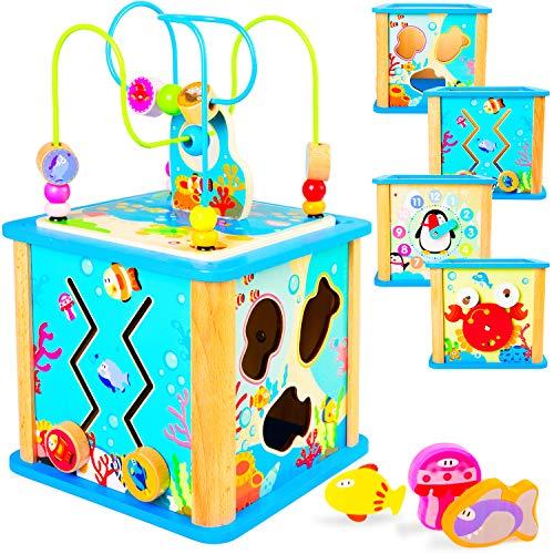 Rolimate 5 in1 Motorikwürfel Holz, Aktivitätswürfel Spielwürfel auf 4 Spielflächen Sortierblock Schiebespiel Lern-Uhr Holzspielzeug für Baby ab 12 Monaten