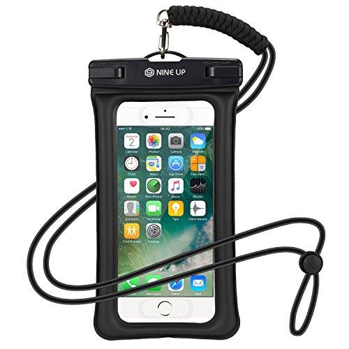 Wasserdichte Hülle Handyhülle NINE UP,Schweben im Wasser, Unterstützung der fingerabdruck freischalten,Universal Handy case Tasche mit Umhängeband für iPhone 7/ 6 / 6S, 7 / 6 / 6S Plus SE 5S, Samsung Galaxy S6 / S7 Edge, Note 5, Huawai Xiaomi HTC LG Sony Nokia Motorola(bis zu 6 Zoll) (Schwarz, 6 Zoll)