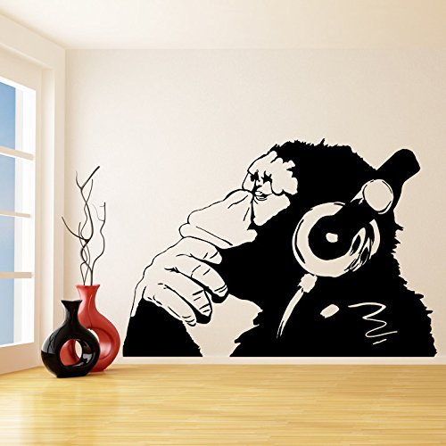 Ajcwhml Banksy Vinyl Affe Mit Kopfhörer Schimpanse Hören Musik In Kopfhörer Straße Graffiti Aufkleber Wandbild Poster 55X80 Mt