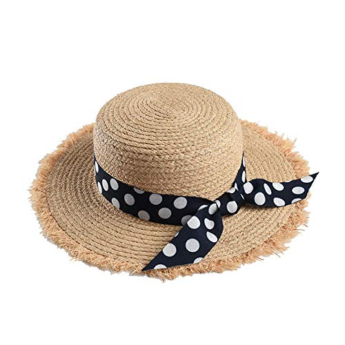 XFGBTJKYUT Frauen Strohhut Sommer Strandurlaub Visier Flat Top Raw Polka Dot Ribbon Sonnenhut (Color : Grey) -