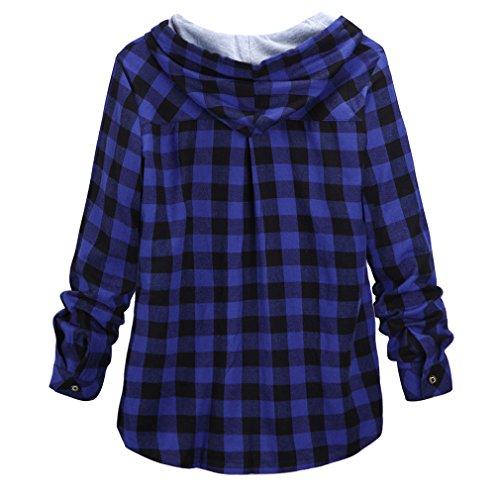 URqueen Women's Loose Oversize Grid Hooded Medium Style Cardigan Jacket Coat Blue