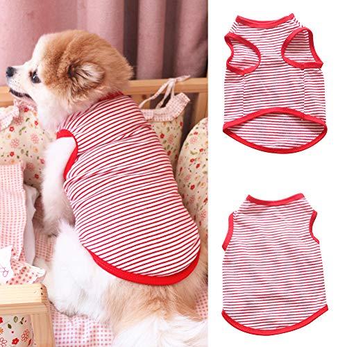 strimusimak Fashion Dog Pet Puppy Stripe Print Soft Cotton Sleeveless Clothes Vest Apparel - Green L