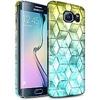 STUFF4 Lucidare Duro Snap On Custodia/Cover/Caso/Cassa del Telefono per Samsung Galaxy S6 Edge / Giallo/blu / Colore cubo disegno