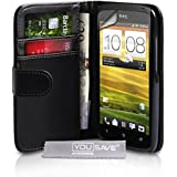 Yousave Accessories TM HTC ONE S Schwarz Leder Brieftasche Schutzhülle Mit Displayschutz Folie Und G