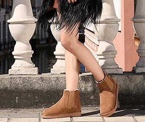 Nouveau Hiver Couple En Cuir Bottes De Neige Hommes Bottes Femmes Bottes Augmenté En Cuir Laine Shorts Épaississement Coton Maroon Chaussures