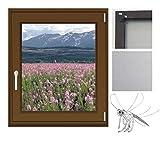 Insektenschutzgitter Fenster Fliegengitter Mückengitter Alu-Rahmen Bausatz 120x140 braun