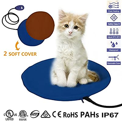 Pet Heating Pad, YAMI® 12W Electric Cat Dog Heater Bed Mat, 7 Grade Temperature Control with Chew Resistant Cord and 2 Free Soft Covers(Brown and Blue)