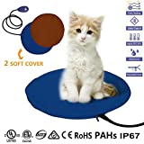 Pet Heating Pad, 12W Electric Cat Dog Heater Bed Mat, 7 Grade Temperature Control with Chew Resistant Cord and 2 Fleece Washable Cover(30x30cm)