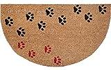 matches21 Fußmatte Fußabstreifer KOKOS halbrund Motiv TATZEN Katzen Hunde 45x75x1,5 cm Rutschfest Kokosmatte