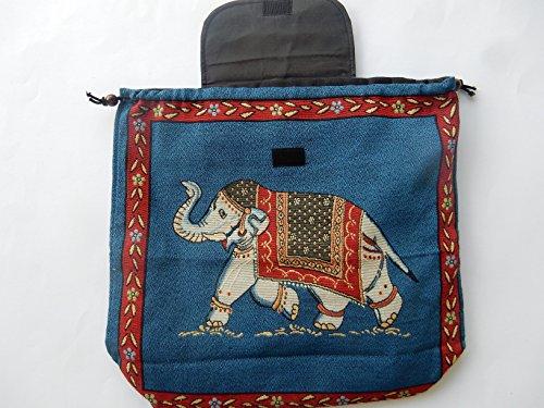 Ariyas Thaishop, Zaino Leggero Intrecciato A Mano Con Motivo A Elefante Blu - Colorato