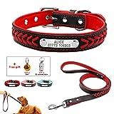 Feidaeu Hundehalsband Leder Anti-Lost dauerhaft weich und bequem tragen Halsband für kleine mittelgroße Hunde oder Katzen