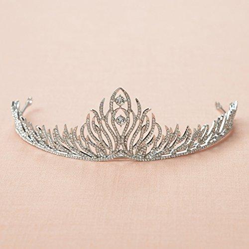 SWEETV Chama Inspirado Princesa Rhinestone Tiara Boda Corona De Accesorios De Pelo, Plata